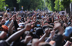 File photo dated 01/06/20 of people at a Black Lives Matter protest rally outside the US Embassy in Dublin following the death of George Floyd in Minneapolis, US. Gardai are investigating the protest in Dublin over alleged lockdown breaches.