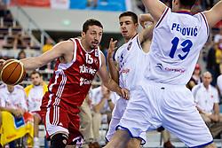 Hidayet Turkoglu of Turkey vs Milenko Tepic of Serbia  during the EuroBasket 2009 Group F match between Turkey and Serbia, on September 14, 2009 in Arena Lodz, Hala Sportowa, Lodz, Poland.  (Photo by Vid Ponikvar / Sportida)