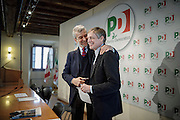 Cesare Damiano and Gianni Cuperlo during press conference at the headquarters of Pd.Roma, 19 November 2013. Christian Mantuano / OneShot
