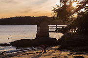Sydney, Australia. Thursday 6th August 2020. A woman gives up her time to pick up plastic waste during the golden hour at Camp Cove beach.