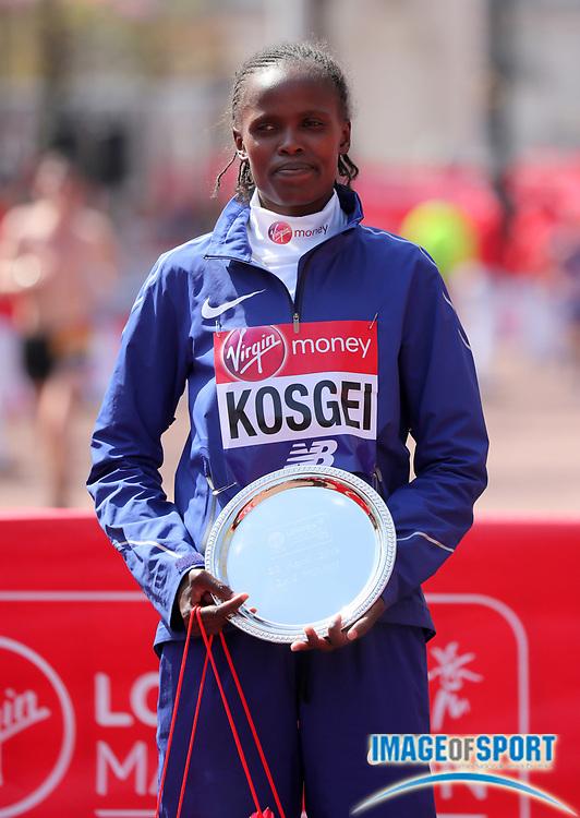 Brigid Kosgei (KEN) poses after placing second in the women's race in 2:20:13 in the London Marathon in London, Sunday, April 22, 2018. (Jiro Mochizuki/Image of Sport)