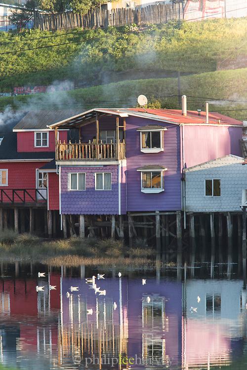 Palafitos houses on Chiloe Island, Chile