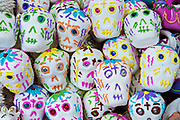 Sugar skulls on sale for the Day of the Dead or Día de Muertos festival October 29, 2017 in San Miguel de Allende, Guanajuato, Mexico. The festival has been celebrated since the Aztec empire celebrates ancestors and deceased loved ones.