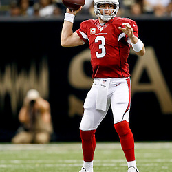 Sep 22, 2013; New Orleans, LA, USA; Arizona Cardinals quarterback Carson Palmer (3) against the New Orleans Saints during a game at Mercedes-Benz Superdome. The Saints defeated the Cardinals 31-7. Mandatory Credit: Derick E. Hingle-USA TODAY Sports