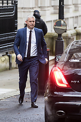 London, UK. 16 December, 2019. Stephen Barclay, Secretary of State for Exiting the European Union, leaves 9 Downing Street on the day of a small Cabinet reshuffle following the Conservatives' general election victory.