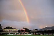 a rainbow appears over Rodney Parade during the 1st half. Friendly International Womens football, Wales Women v Republic of Ireland Women at Rodney Parade in Newport, South Wales on Friday 19th August 2016.<br /> pic by Andrew Orchard, Andrew Orchard sports photography.