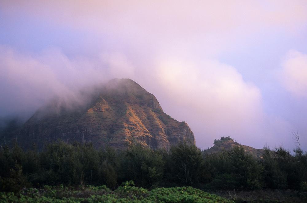 Hawaii, Kauai, view of mountains at Mahaulepu