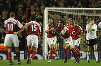 Photo: Javier Garcia/Back Page Images Mobile +447887 794393 Arsenal v Rosenborg, UEFA Champions League 07/12/04, Highbury<br />Jose Antonio Reyes is joined by Mathieu Flamini as he celebrates his early opening goal