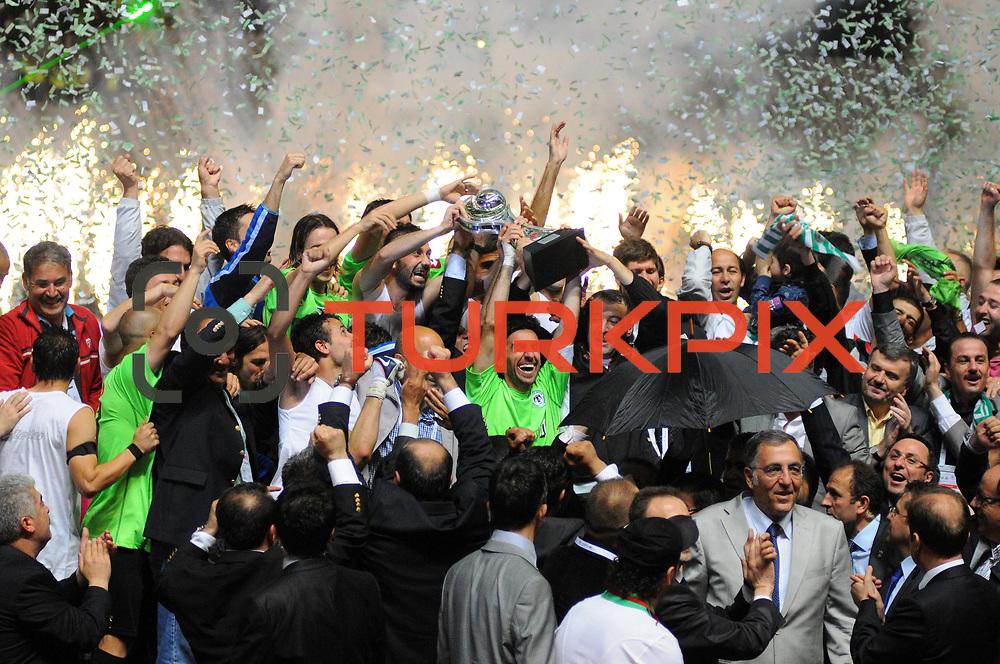 Konyaspor's players Omer HACISALIHOGLU (C) celebrate with the BankAsya Cup trophy during their Turkish soccer Play Off final match Altayspor between Konyaspor at Ataturk Olympic Stadium in Istanbul Turkey on Sunday, 23 May 2010. Photo by TURKPIX