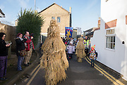 THE STRAW BEAR, The Straw Bear Festival, Whittlesey,Peterborough. 17 January 2016<br /> On Plough Tuesday, the day after Plough Monday (the first Monday after Twelfth Night), a man or boy is covered from head to foot in straw and led around the town where  he would dance in exchange for gifts of money, food or beer. The custom was was resurrected by the Whittlesea Society in 1980.