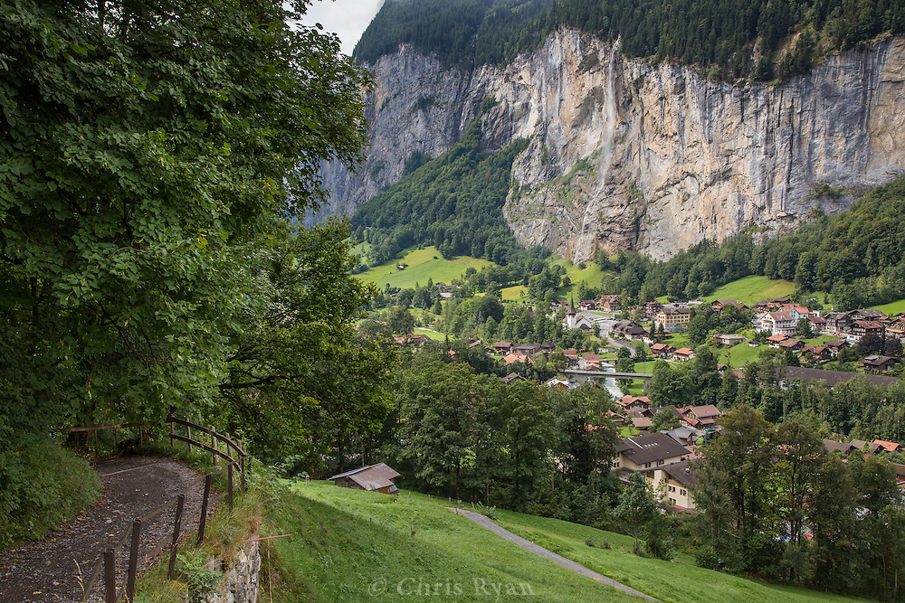 Waterfall above town of Lauterbrunnen, Switzerland