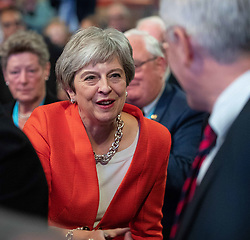 September 30, 2018 - Birmingham, West Midlands, United Kingdom - Conservative Party Leader THERESA MAY greets people at the start of Day 1 of the UK Conservative Party Conference, held at the ICC. (Credit Image: © Joel Goodman/London News Pictures via ZUMA Wire)