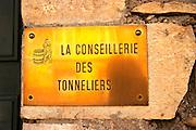 coopers' association brass sign beaune cote de beaune burgundy france