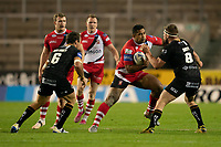 Rugby League - 2020/2021 Coral Challenge Cup - Quarter-final - Catalan Dragons vs Salford Red Devils<br /> <br /> Salford Red Devils's Sebastine Ikahihifois tackled, at the TW Stadium.<br /> <br /> COLORSPORT/TERRY DONNELLY