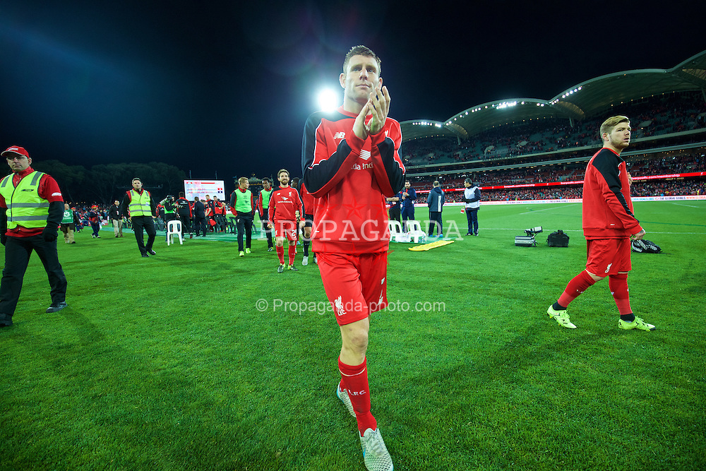 ADELAIDE, AUSTRALIA - Monday, July 20, 2015: Liverpool's James Milner applauds the supporters after the 2-0 victory over Adelaide United during a preseason friendly match at the Adelaide Oval on day eight of the club's preseason tour. (Pic by David Rawcliffe/Propaganda)
