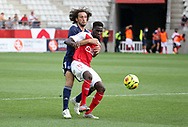 Boulaye Dia of Reims, Paul Baysse of Bordeaux (left) during the Friendly Game football match between Stade de Reims and Girondins de Bordeaux on August 8, 2020 at the Auguste Delaune Stadium, in Reims, France - Photo Juan Soliz / ProSportsImages / DPPI