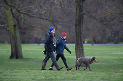 © Licensed to London News Pictures 16/01/2021.        Greenwich, UK. Two dog walkers. The snowy weather turns to rain this afternoon with people getting out of the house from Coronavirus lockdown to exercise in Greenwich Park, London. Photo credit:Grant Falvey/LNP