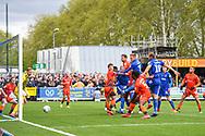 AFC Wimbledon Forward Joe Pigott (39) scores a goal (1-0) during the EFL Sky Bet League 1 match between AFC Wimbledon and Wycombe Wanderers at the Cherry Red Records Stadium, Kingston, England on 27 April 2019.