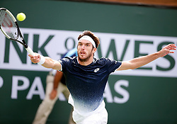 March 9, 2019 - Indian Wells, CA, U.S. - INDIAN WELLS, CA - MARCH 09: Leonardo Mayer (ARG) hits a forehand during the second round of the BNP Paribas Open on March 09, 2019, at the Indian Wells Tennis Gardens in Indian Wells, CA. (Photo by Adam Davis/Icon Sportswire) (Credit Image: © Adam Davis/Icon SMI via ZUMA Press)