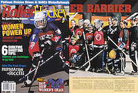1998: April Roller Hockey Magazine tearsheet. Men and Women playing hockey together at the beach during NHL Breakout.