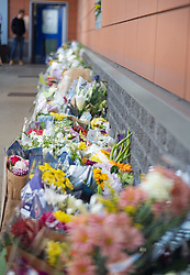 ©Licensed to London News Pictures 26/09/2020  <br /> Croydon, UK. Flower memorial for Sgt Matt Ratana at Croydon Custody Centre. A murder investigation has been launched by police after the death of  custody police sergeant Matt Ratana at the Croydon Custody Centre in South London yesterday.Photo credit:Grant Falvey/LNP
