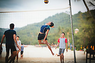 Playing voleyball on a beach of Ko Phi Phi Don, Thailand, Southeast Asia