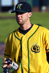18 May 2012:  Daniel Britt during a Frontier League Baseball game between the Windy City Thunderbolts and the Normal CornBelters at Corn Crib Stadium on the campus of Heartland Community College in Normal Illinois