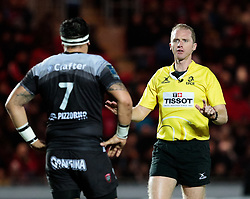 Referee Wayne Barnes makes a point<br /> <br /> Photographer Simon King/Replay Images<br /> <br /> European Rugby Champions Cup Round 6 - Scarlets v Toulon - Saturday 20th January 2018 - Parc Y Scarlets - Llanelli<br /> <br /> World Copyright © Replay Images . All rights reserved. info@replayimages.co.uk - http://replayimages.co.uk