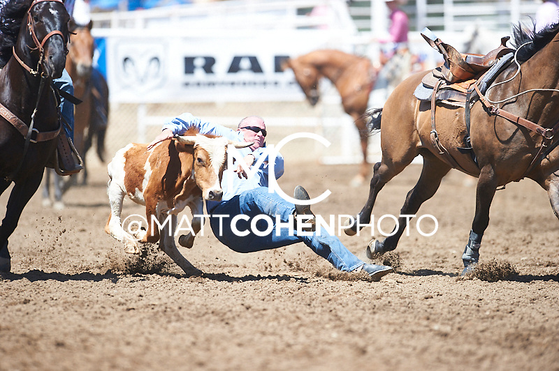 Steer wrestler Richard Toland competes at the Woodlake Lions Rodeo.<br /> <br /> <br /> UNEDITED LOW-RES PREVIEW<br /> <br /> <br /> File shown may be an unedited low resolution version used as a proof only. All prints are 100% guaranteed for quality. Sizes 8x10+ come with a version for personal social media. I am currently not selling downloads for commercial/brand use.