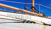 Old weathered sailboat in the Ventura Marina, Ventura, California USA