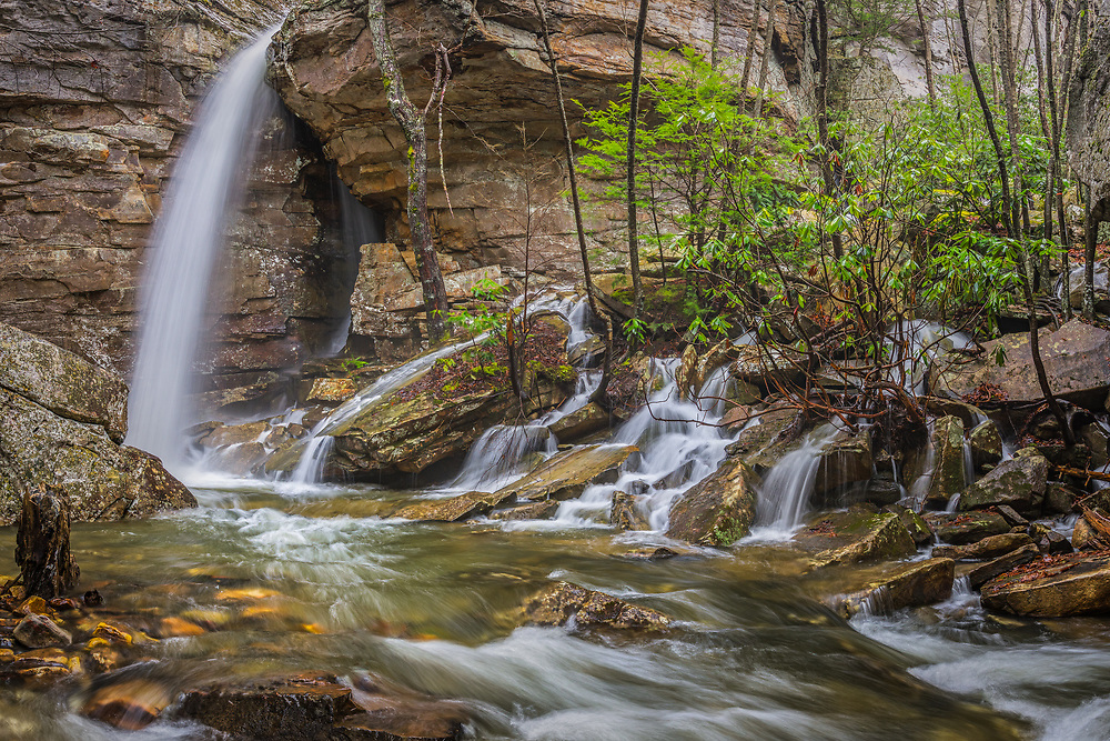 Heavy Spring rains bring the water flow to the Upper Falls of Fern Creek in the New River Gorge of West Virginia.