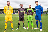 Forest Green Rovers goalkeeper James Montgomery, Forest Green Rovers Carl Winchester(7) Forest Green Rovers Reece Brown(10) and Forest Green Rovers goalkeeper Robert Sanchez(1) wearing the new kit for the 2018/19 season during the 2018/19 official team photocall for Forest Green Rovers at the New Lawn, Forest Green, United Kingdom on 30 July 2018. Picture by Shane Healey.