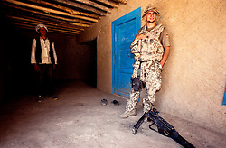 YAFTAL PAYAN, 31 July 2005.A German soldier/ISAF is standing outside the guest house of Bitha Bala Village.