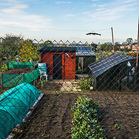 The Union flag flies over an allotment on the outskirts of Milton Keynes, England, two years after the Brexit vote for the U.K. to leave the E.U. <br /> Allotments have been an iconic part of British urban life for centuries, being secured in British law since 1908. They played a significant role in domestic food security during the First and Second World Wars when they were called 'Victory Gardens.'.