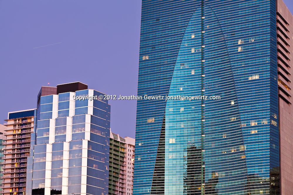 Office buildings and condos on Miami's Brickell Avenue. WATERMARKS WILL NOT APPEAR ON PRINTS OR LICENSED IMAGES.