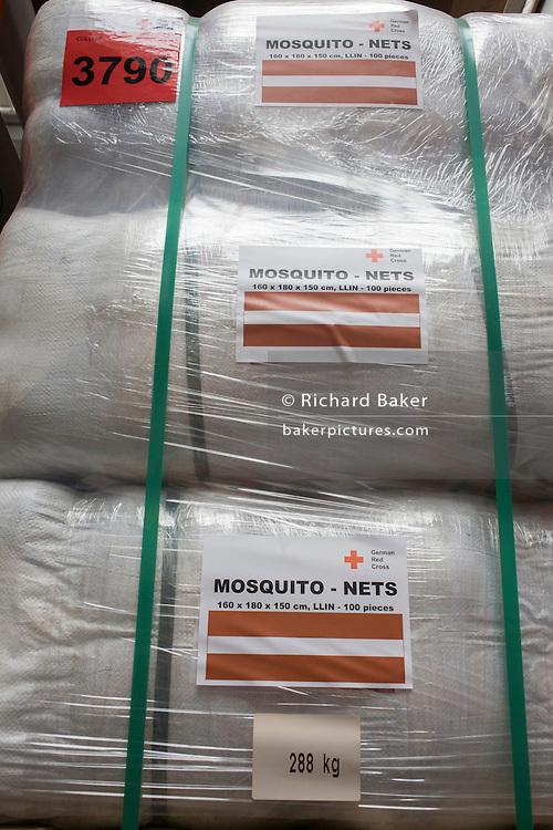 Mosquito nets in emergency supplies warehouse, Deutsches Rotes Kreuz (DRK - German Red Cross) at their logistics centre at Berlin-Schönefeld airport.