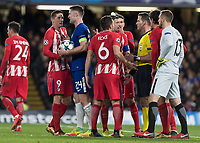 Football - 2017 / 2018 UEFA Champions League - Group C: Chelsea vs. Atletico Madrid<br /> <br /> Fernando Torres (Atletico Madrid) confronts Gary Cahill (Chelsea FC)  after he fouls Antoine Griezmann (Atletico Madrid) at Stamford Bridge.<br /> <br /> COLORSPORT/DANIEL BEARHAM