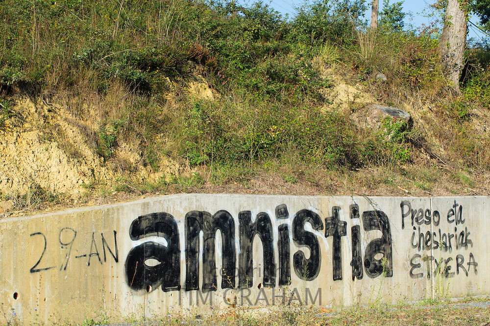 Amnistia banner at Zubialde promoting Amnesty, after 29 years of protests, in Biskaia Basque region, Spain