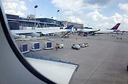 Minneapolis - St. Paul International Airport terminal airplane passenger baggage loading area. Minneapolis Minnesota MN USA