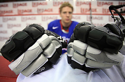 Gloves and Ales Music at practice of Slovenian national team at Hockey IIHF WC 2008 in Halifax,  on May 04, 2008 in Metro Center, Halifax, Canada.  (Photo by Vid Ponikvar / Sportal Images)