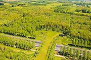Nederland, Noord-Brabant, Gemeente Boxtel, 27-05-2013; De Scheeken, ten westen van Sint-Oedenrode. A2 met ecoduct, Natuurbrug Het Groene Woud.<br /> Ruilverkaveling De Scheeken maakt deel uit van het Nationale Landschap het Groene Woud. Het gebied was voor de ruilverkaveling sterk versnipperd en kende een gebrekkige ontwatering. Ruilverkaveling uitgevoerd in de jaren veerig van de vorige eeuw, wederopbouwperiode. Het onderliggende landschapsplan hield rekening met streekeigen karakter karakter van het cultuurlandschap.<br /> <br /> QQQ<br /> luchtfoto (toeslag op standard tarieven)<br /> aerial photo (additional fee required)<br /> copyright foto/photo Siebe Swart