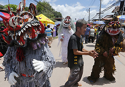 June 16, 2018 - Thailand - Thais wear masks representing the spirits of the dead springing back to life at the annual Phi Ta Khon, or Ghost festival in Dan Sai, Loei province, northeast of Bangkok on June 16, 2018. The event was held to promote tourism in Thailand. (Credit Image: © Chaiwat Subprasom/Pacific Press via ZUMA Wire)