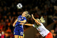 Erin Cuthbert (#22) of Scotland rises to win a header during the 2019 FIFA Women's World Cup UEFA Qualifier match between Scotland Women and Switzerland at the Simple Digital Arena, St Mirren, Scotland on 30 August 2018.