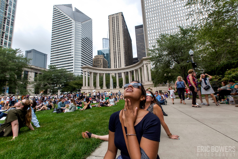 Daytime crowd at Millenium Park in Chicago to observe the solar eclipse of August 2017.