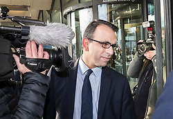 © Licensed to London News Pictures. 06/02/2018. London, UK. Zafar Khan, former finance director of Carillion, arrives at Portcullis House in London where former bosses of the collapsed firm are due to give evidence to a Business, Energy and Industrial Strategy Committee and the Work and Pensions Committe. Carillion plc, a major government contractor, went in to administration in January 2018. Photo credit: Peter Macdiarmid/LNP