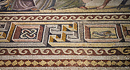 Roman mosaics - Mousai Mosaic. Euphrates Villa, Ancient Zeugama, 2nd - 3rd century AD . Zeugma Mosaic Museum, Gaziantep, Turkey. .<br /> <br /> If you prefer to buy from our ALAMY PHOTO LIBRARY  Collection visit : https://www.alamy.com/portfolio/paul-williams-funkystock/roman-mosaic.html - Type -   Zeugma   - into the LOWER SEARCH WITHIN GALLERY box. Refine search by adding background colour, place, museum etc<br /> <br /> Visit our ROMAN MOSAIC PHOTO COLLECTIONS for more photos to download  as wall art prints https://funkystock.photoshelter.com/gallery-collection/Roman-Mosaics-Art-Pictures-Images/C0000LcfNel7FpLI