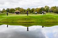 08-10-2017 - Foto van de finaledag van de Dutch Masters 2017, een European Senior Tour Event. Gespeeld op The Dutch in Spijk van 6 t/m 8 oktober.  Game 13: Jarmo Sandelin, André Bossert, Malcolm Mackenzie op green van hole 12