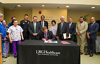 Governor Chris Sununu at LRGH.  (Karen Bobotas/for the Laconia Daily Sun)