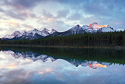 Herbert Lake Sunrise Reflection of the alpenglow kissed Canadian Rockies in Banff National Park.