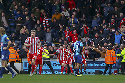 March 9, 2019 - High Wycombe, Buckinghamshire, United Kingdom - Sunderland players and fans celebrate the equaliser during the Sky Bet League 1 match between Wycombe Wanderers and Sunderland at Adams Park, High Wycombe, England  on Saturday 9th March 2019. (Credit Image: © Mi News/NurPhoto via ZUMA Press)